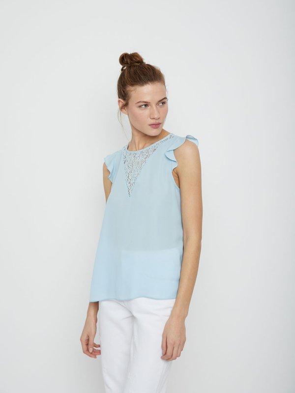 Блузка с кружевом цвет: голубой