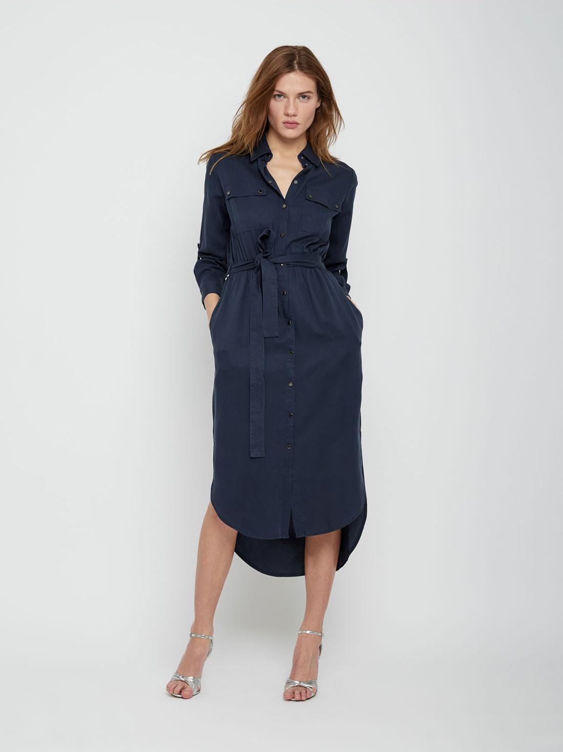 Платье рубашечного кроя с асимметричной длиной