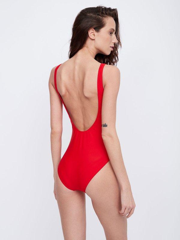 Слитный купальник с круглым вырезом на спинке вид сзади