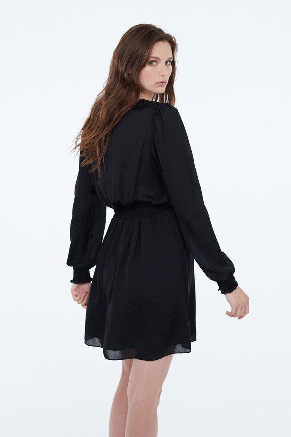 Платье с эластичным поясом и манжетами вид сзади