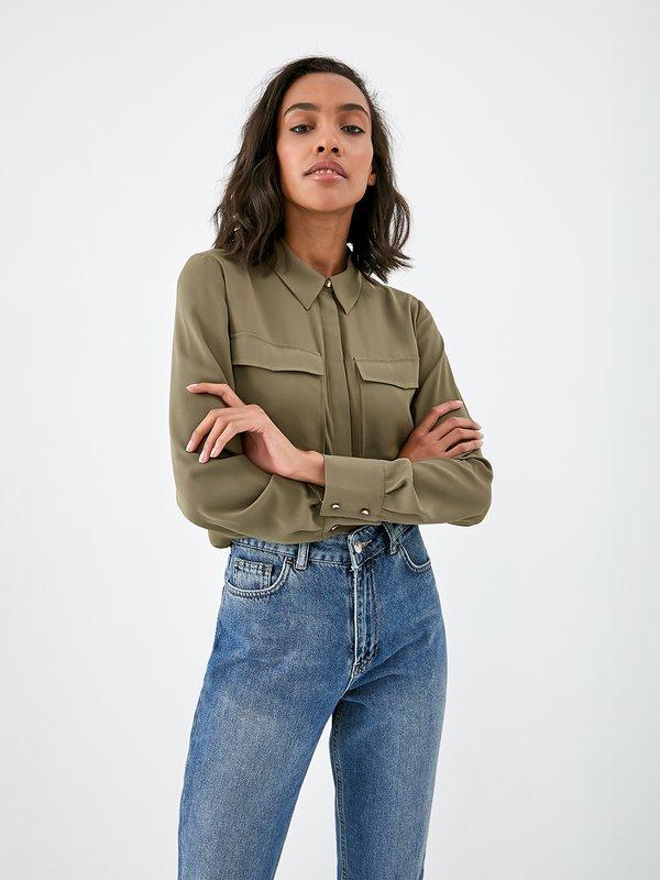 Рубашка с карманами цвет: хаки