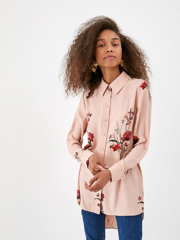 Асимметричная рубашка с цветочным принтом