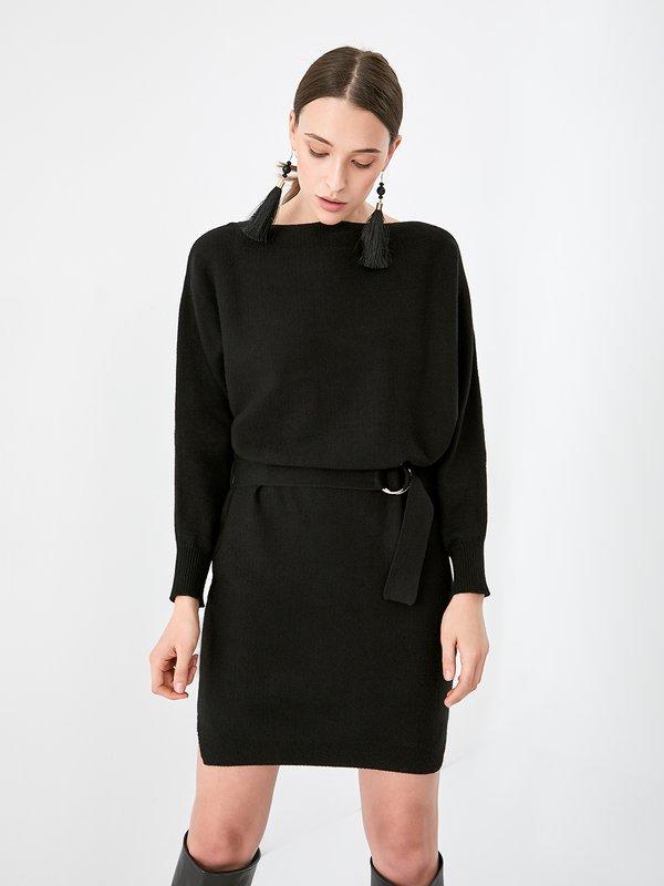 Трикотажное платье с поясом цвет: черный