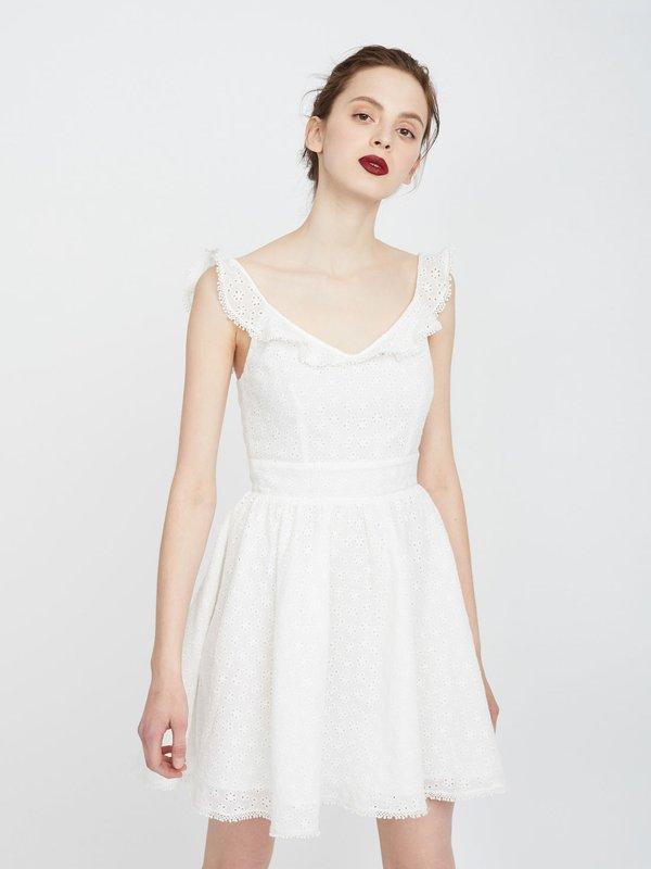 Платье с перфорацией из хлопка