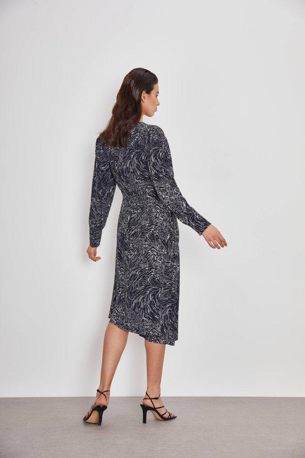 Асимметричное платье с принтом вид сзади