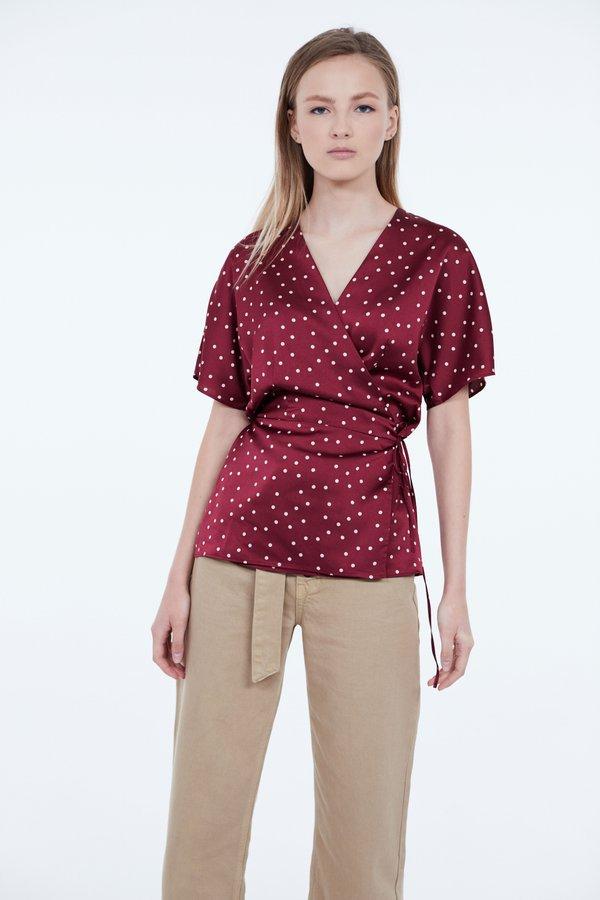Блузка на запах цвет: бордовый