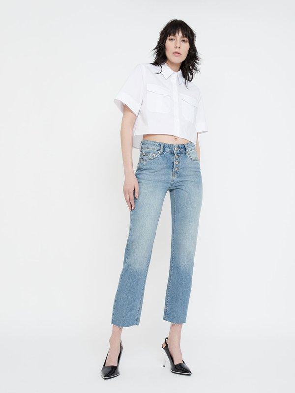 Укороченные джинсы на пуговицах
