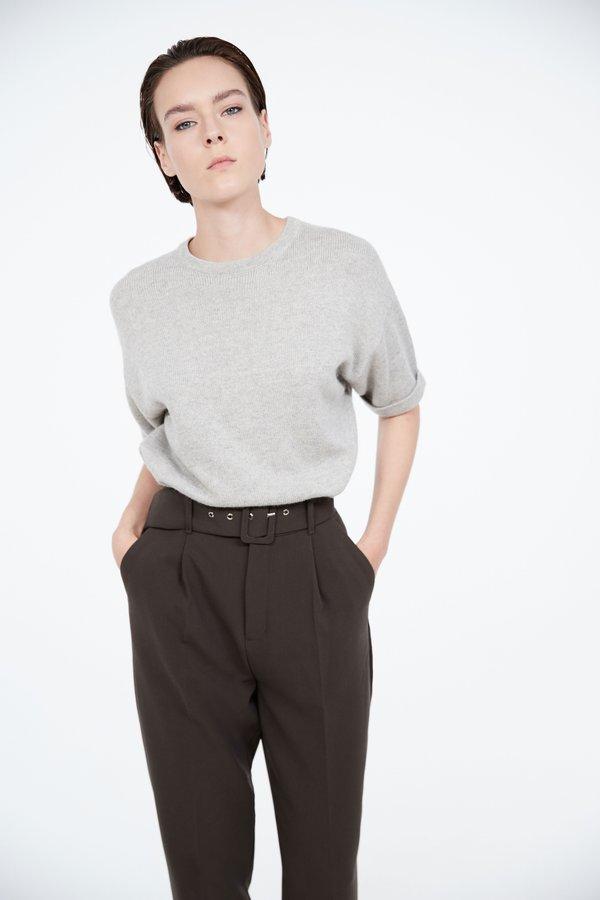 Трикотажный джемпер с короткими рукавами цвет: серый меланж