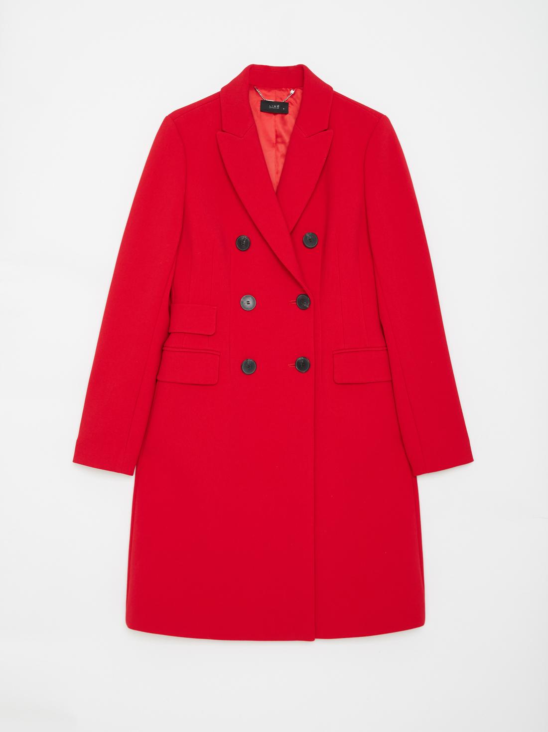 Двубортное пальто с карманами