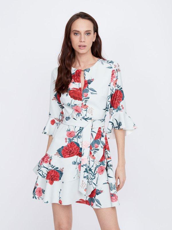 Платье с асимметричной юбкой цвет: светло-голубой