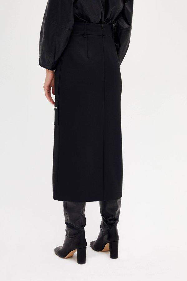 Юбка миди с накладными карманами вид сзади