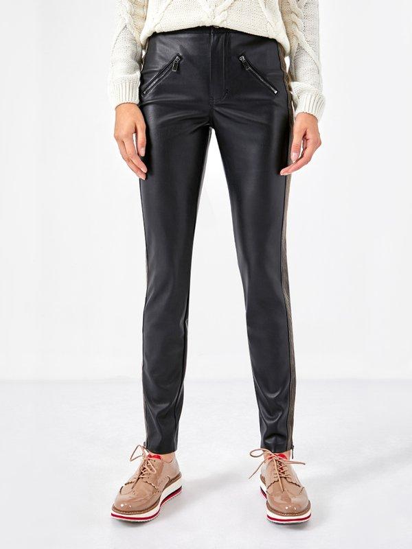 Кожаные брюки с отстрочкой
