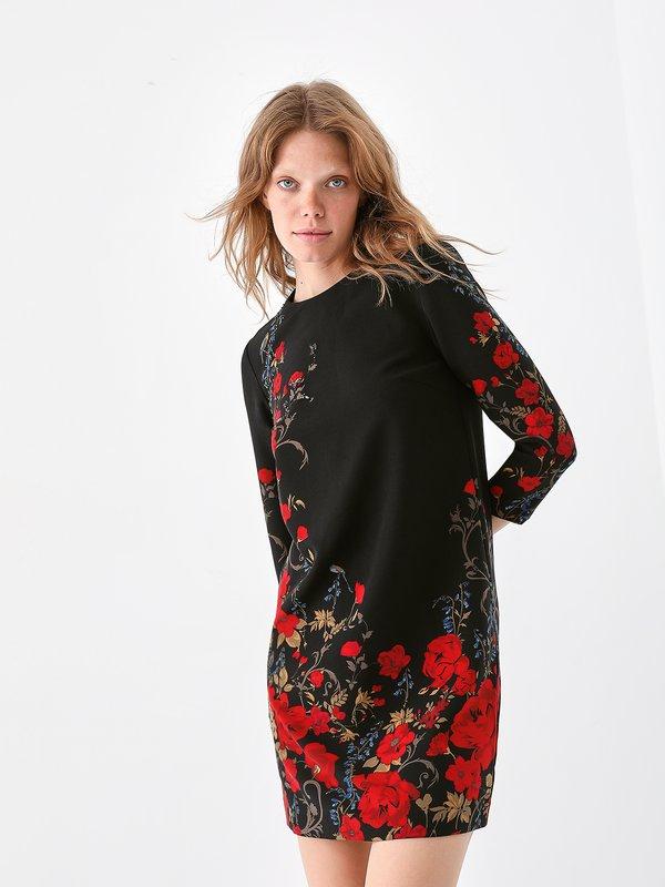 Платье с асимметричным цветочным принтом