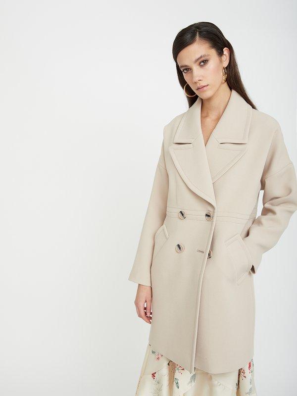 Пальто с широким лацканом цвет: бежевый