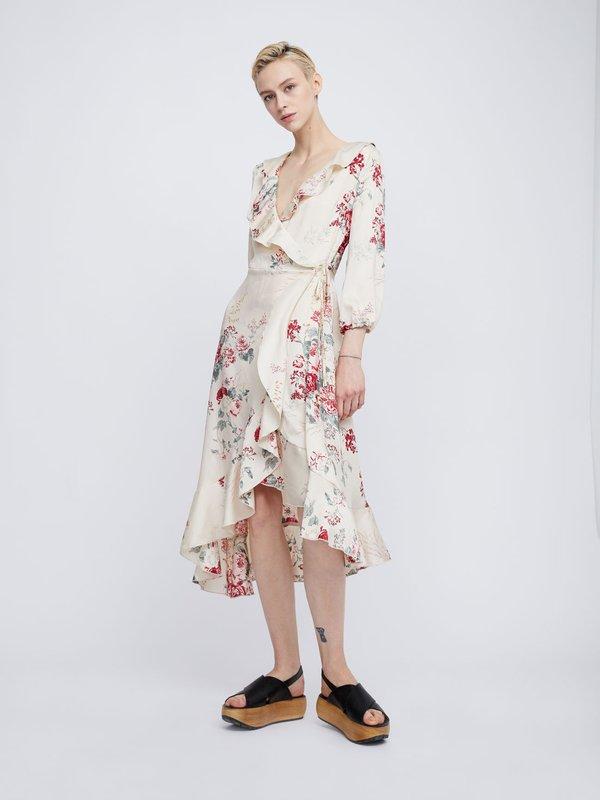 Платье с воланами цвет: бежевый