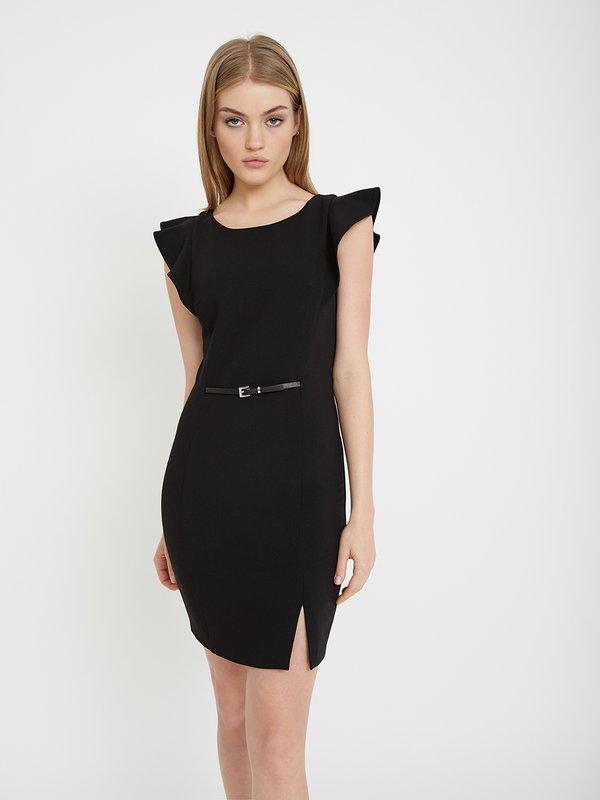 Платье с рукавом-крылышко цвет: черный