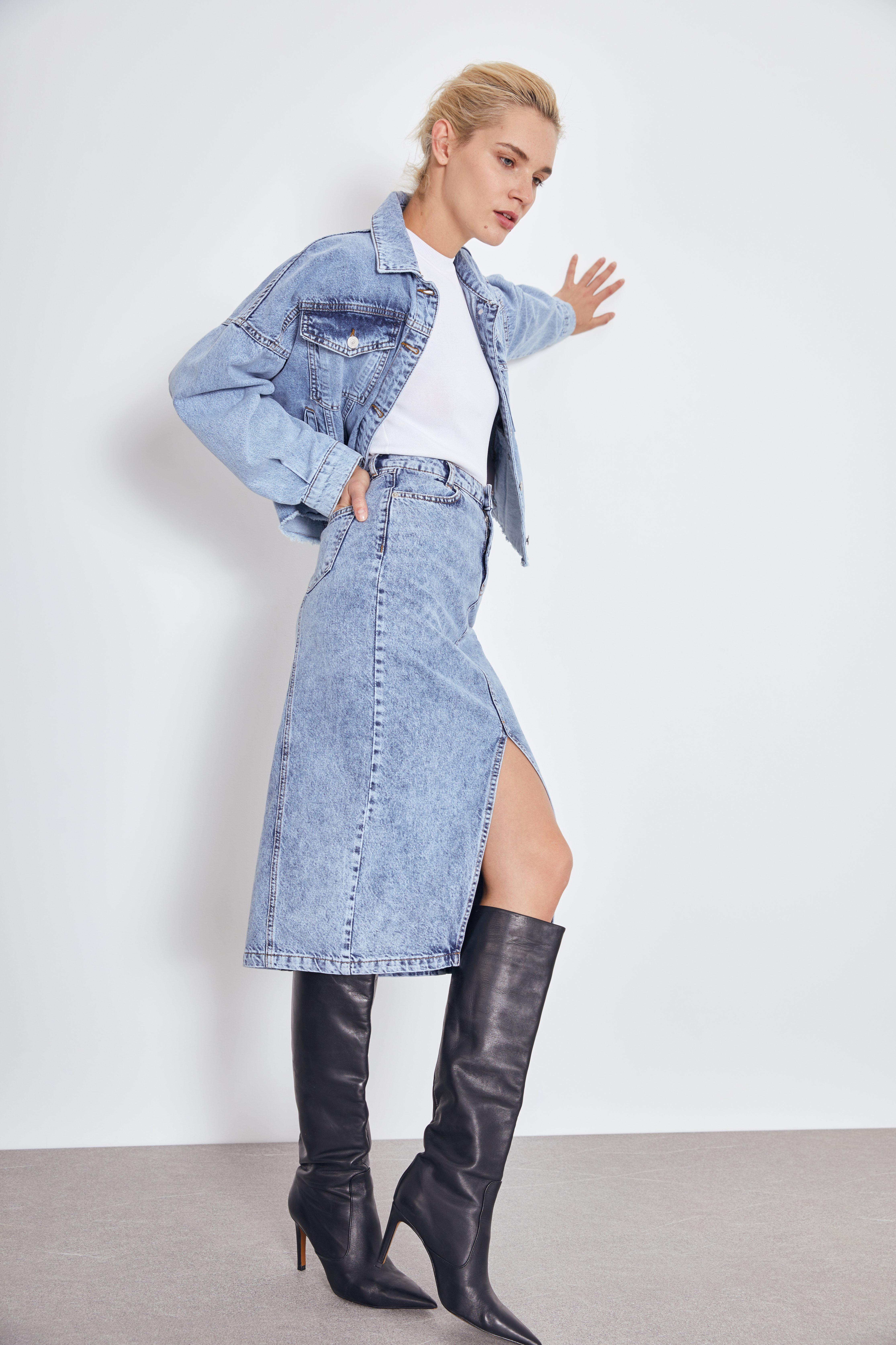 Юбка LIME Джинсовая юбка миди