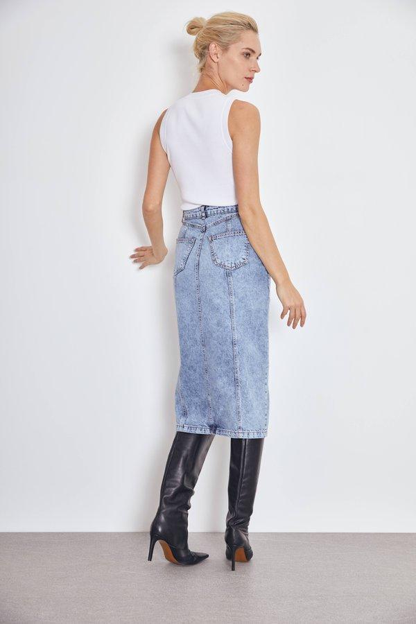 Джинсовая юбка миди вид сзади