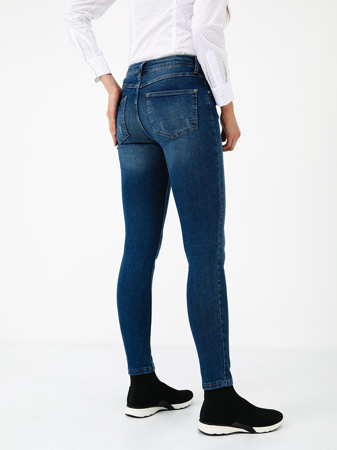 Укороченные джинсы слим фит