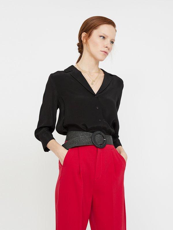 Рубашка с отложным воротником цвет: черный