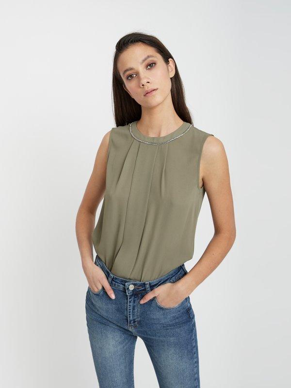 Блузка без рукавов цвет: хаки