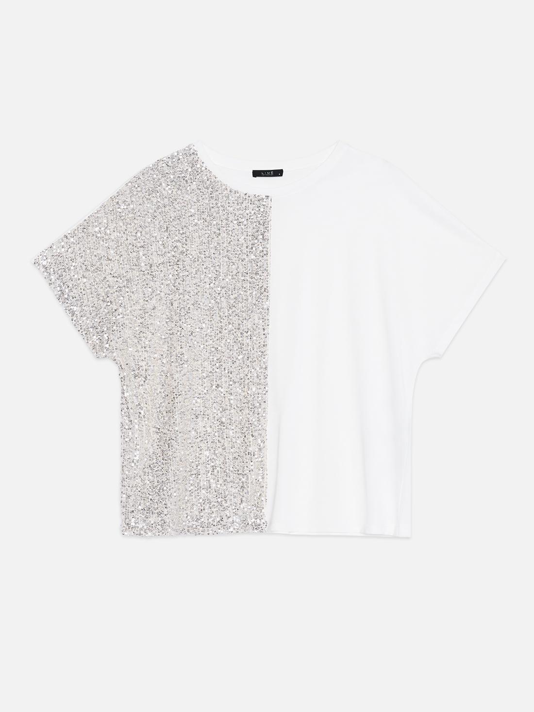 Комбинированная футболка с пайетками