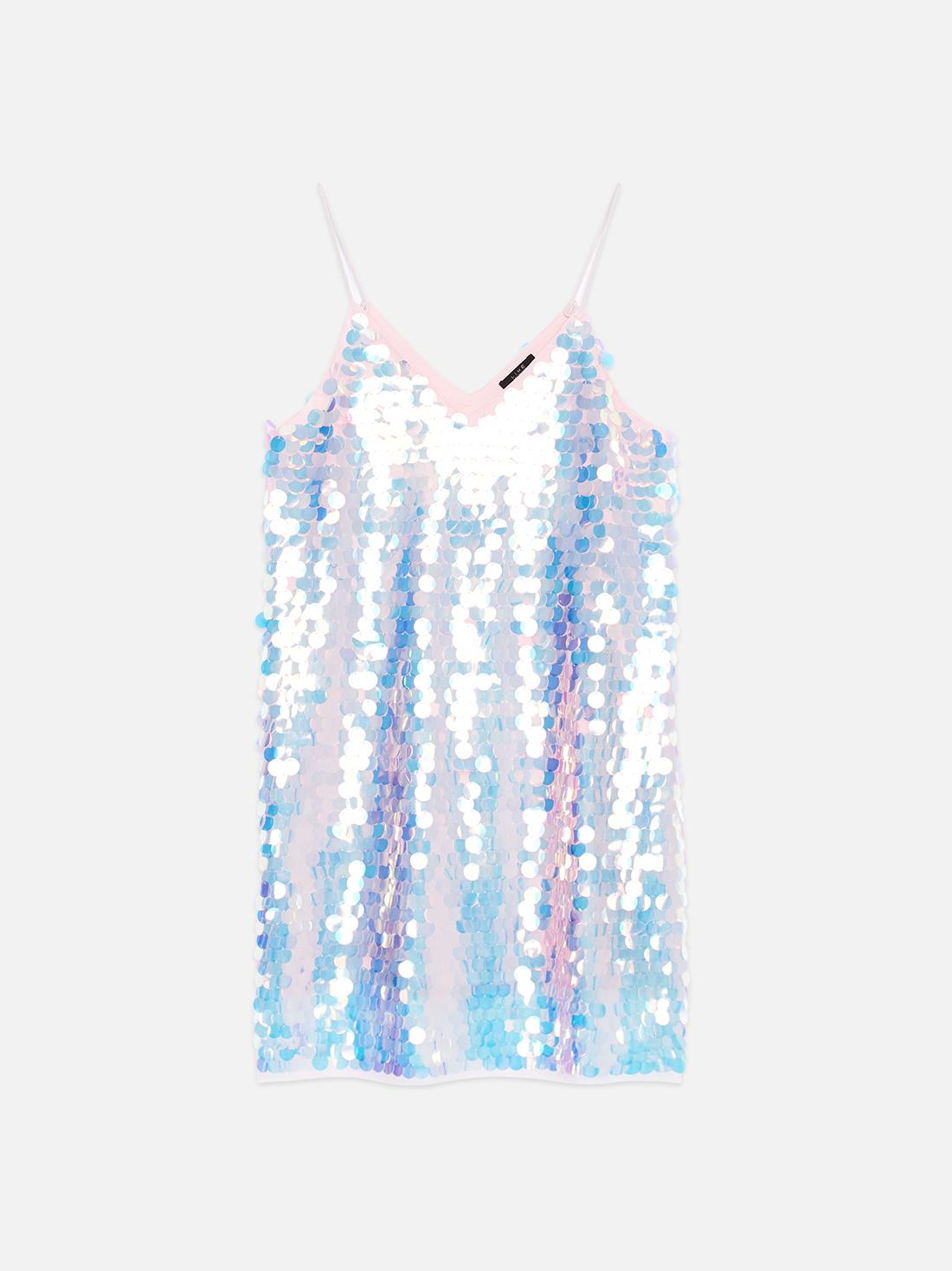 Платье на бретелях с перламутровыми пайетками