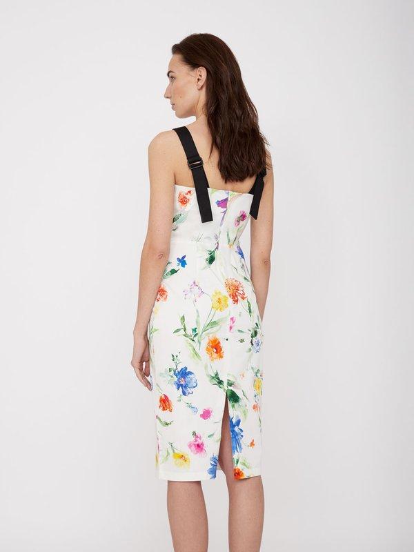 Платье с контрастными бретелями вид сзади