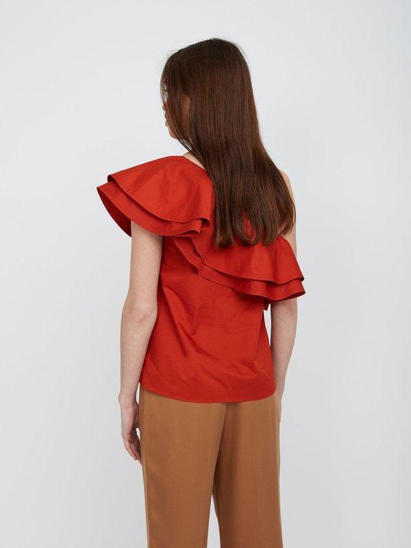 Блузка с открытым плечом вид сзади