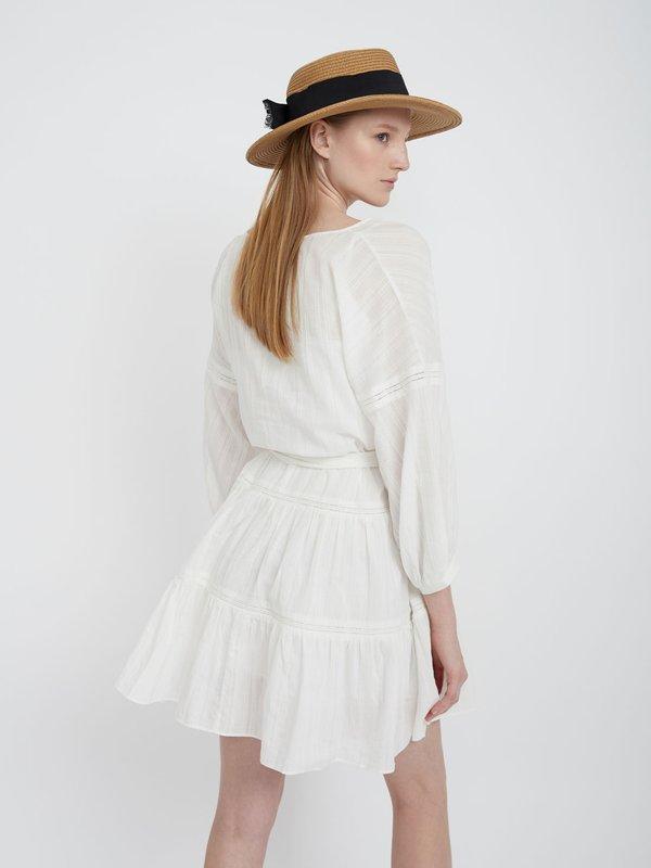 Хлопковое платье с поясом  вид сзади