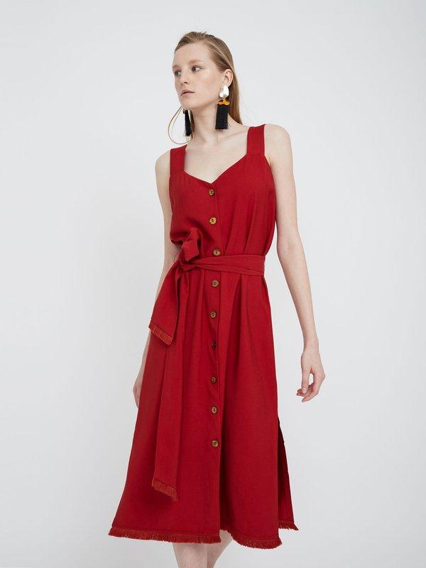 Платье-миди с бахромой