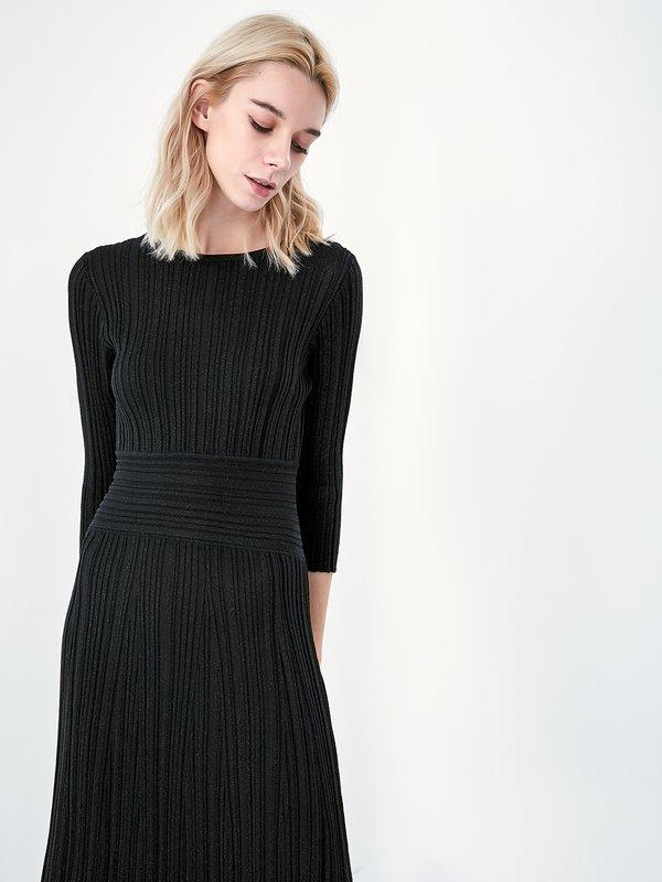 Трикотажное платье с люрексом цвет: черный