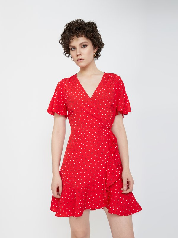 Платье из струящейся ткани цвет: красный