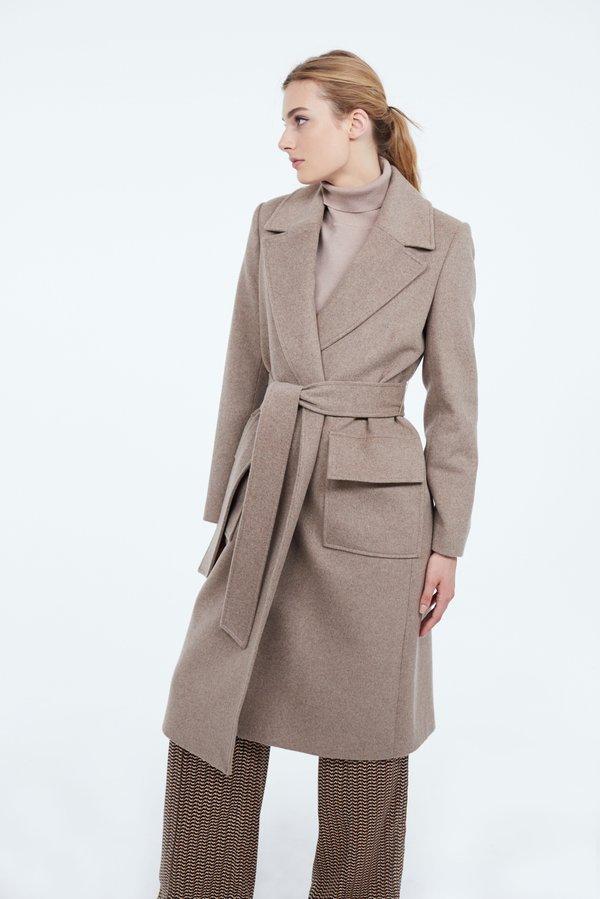 Пальто с накладными карманами цвет: кофейный
