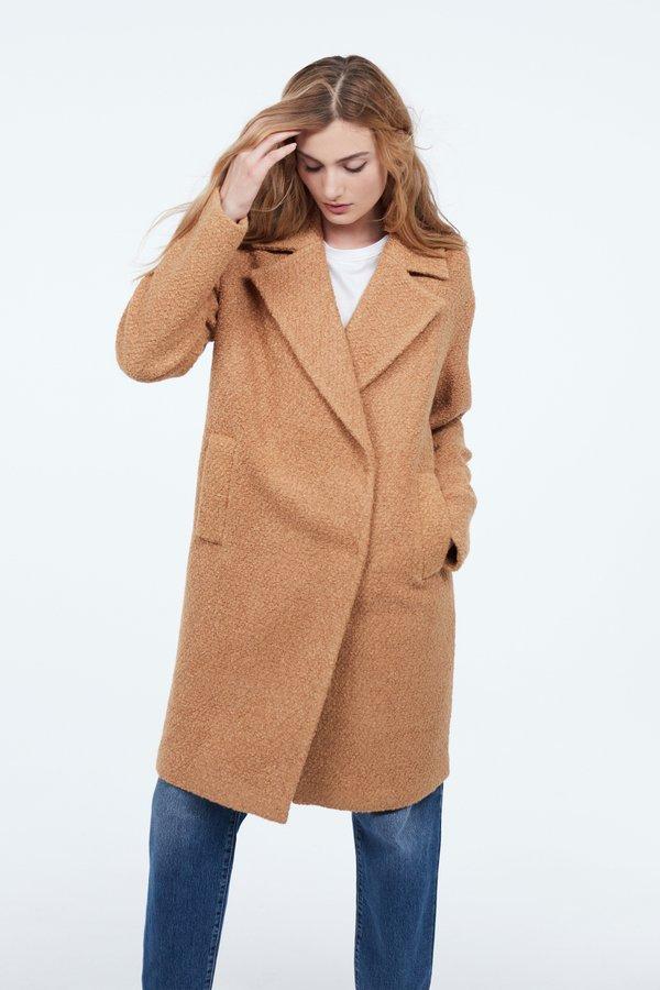 Пальто О-силуэта цвет: карамельный