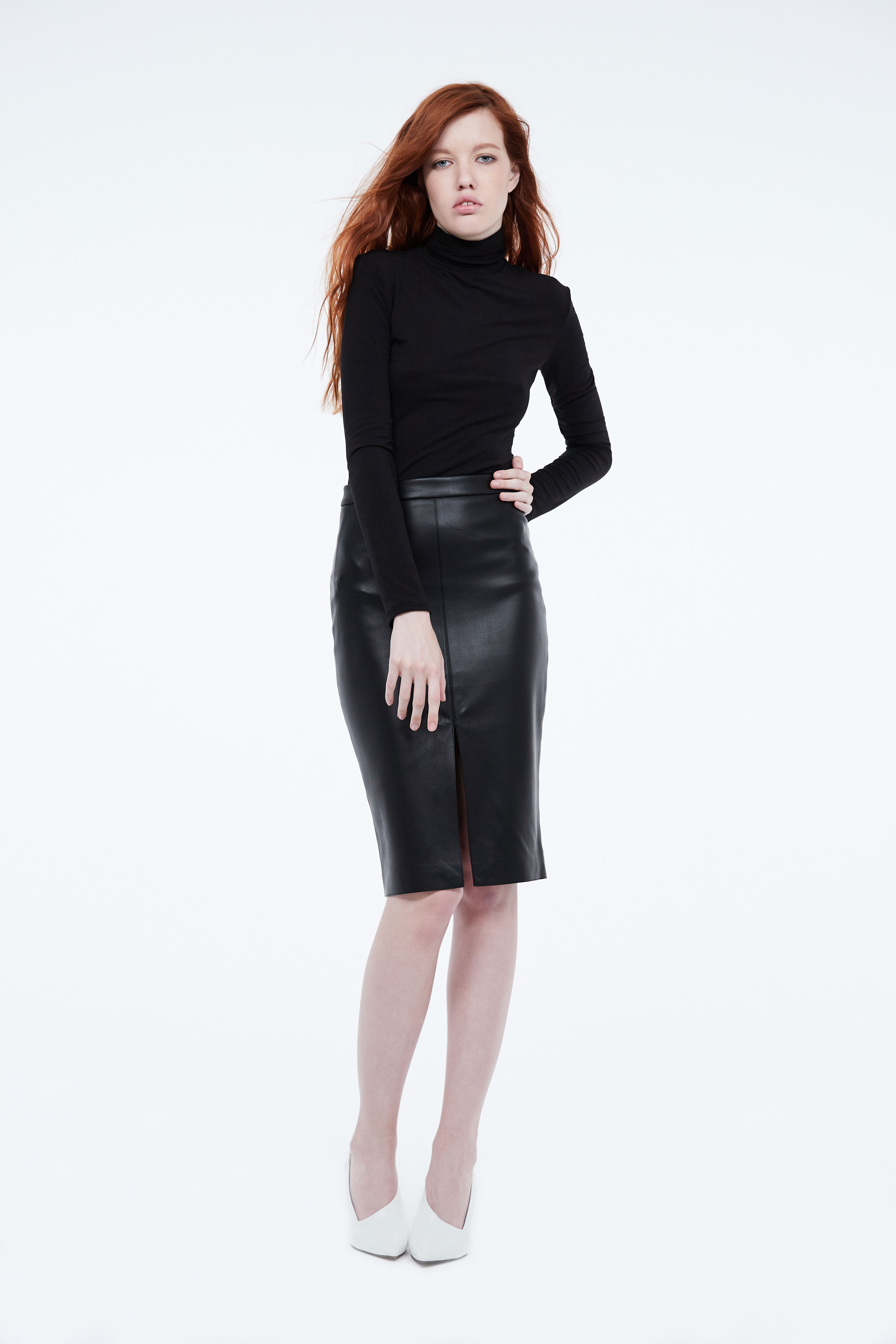Юбка LIME Кожаная юбка - карандаш с разрезом цена 2017
