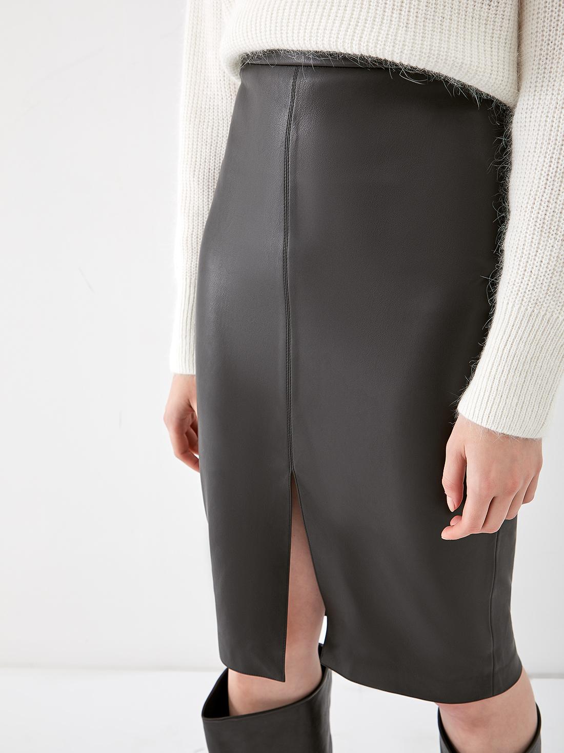 Кожаная юбка - карандаш с разрезом