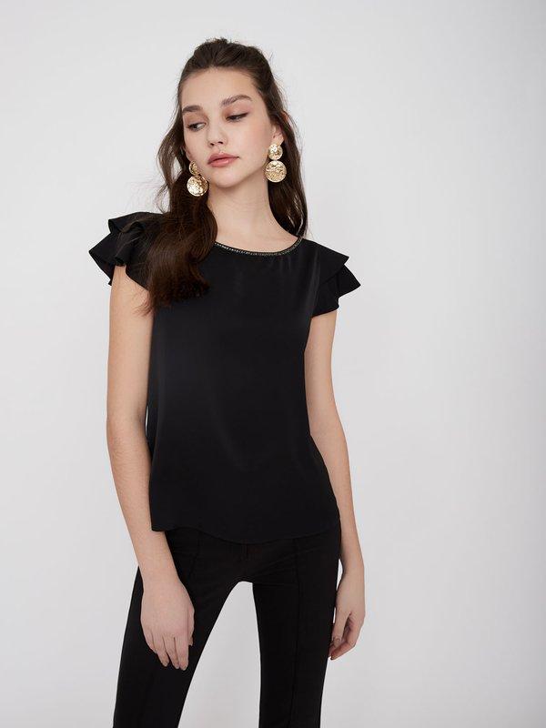 Блузка с воланами цвет: черный