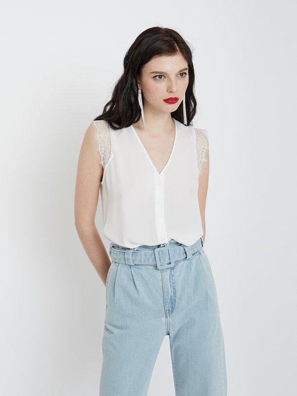 Рубашка с кружевными рукавами