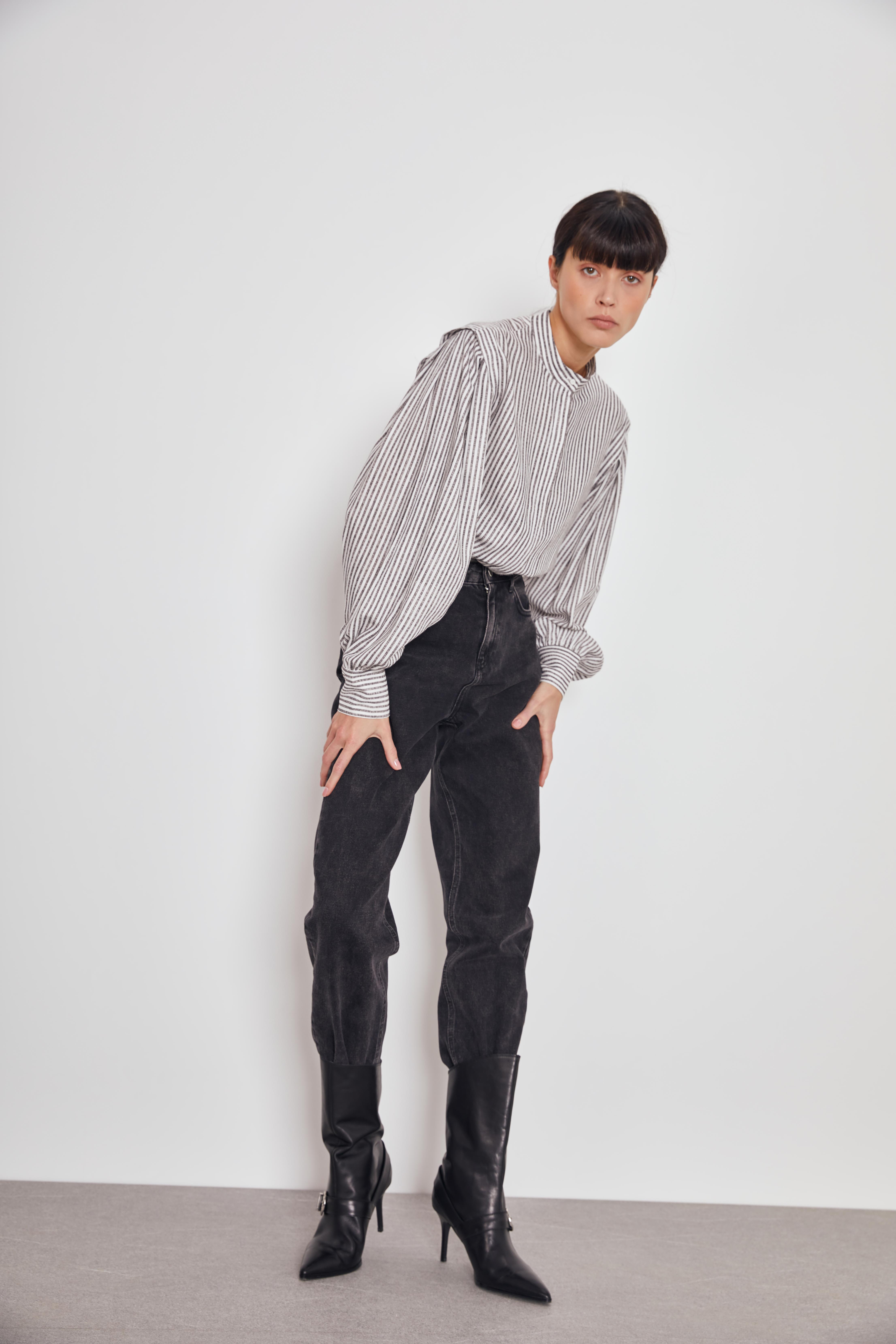 Рубашка LIME Блузка в полоску блузка lime блузка с эластичной талией