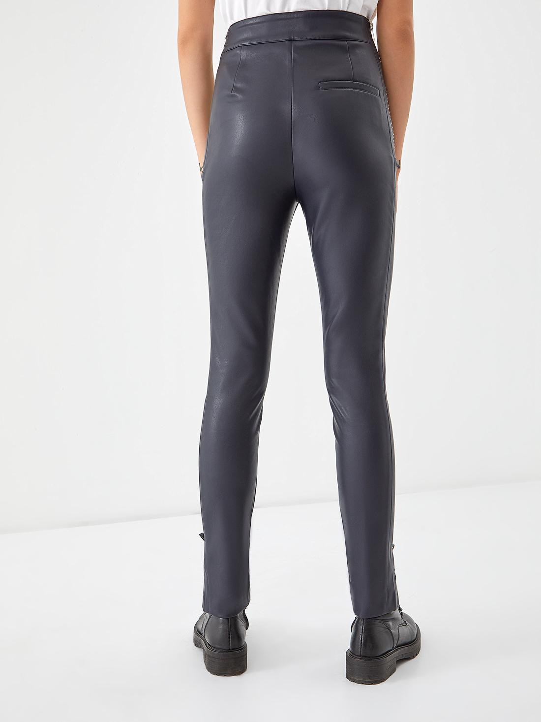 Кожаные брюки с высокой посадкой