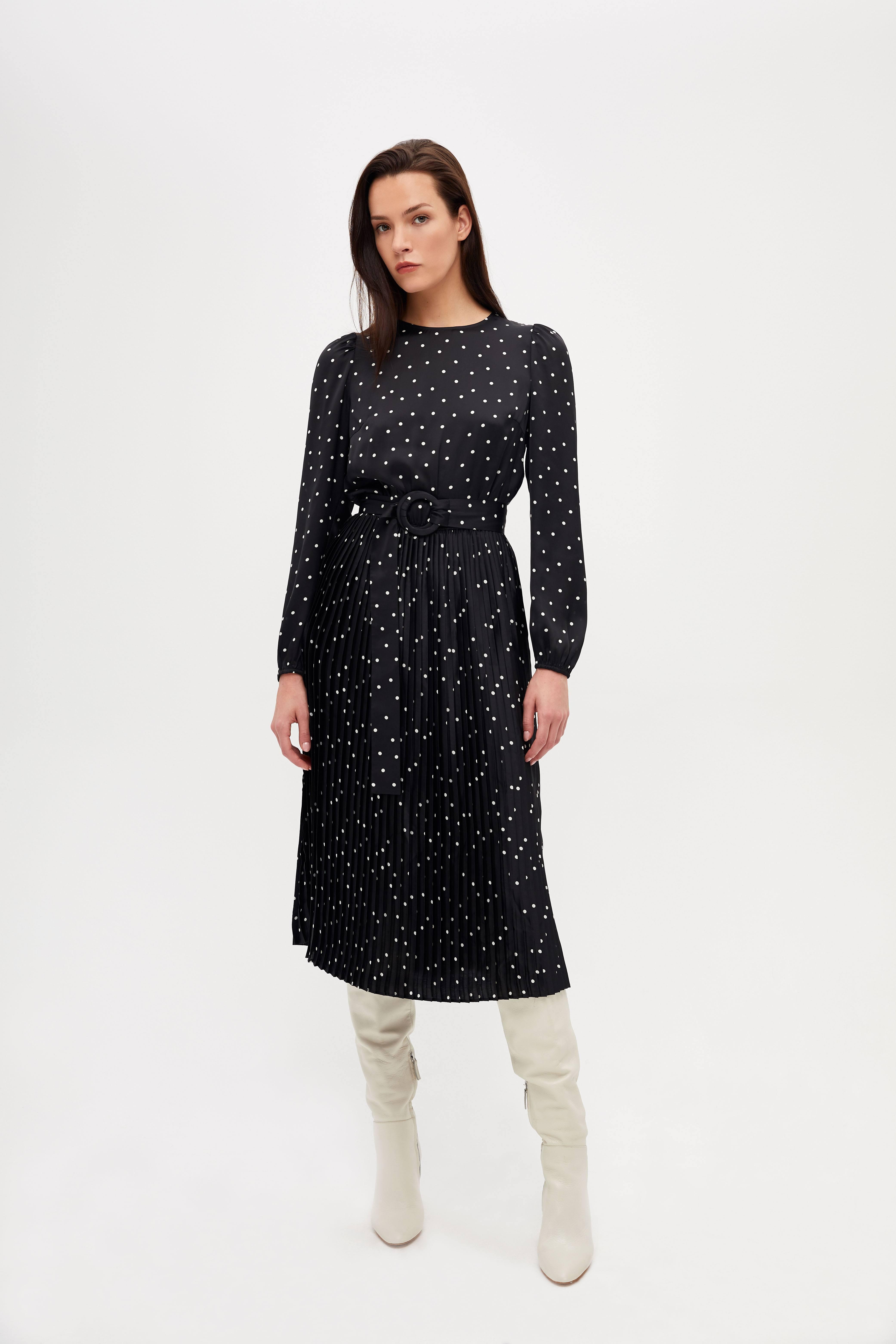 Платье LIME Платье с юбкой плиссе короткое платье с длинной юбкой