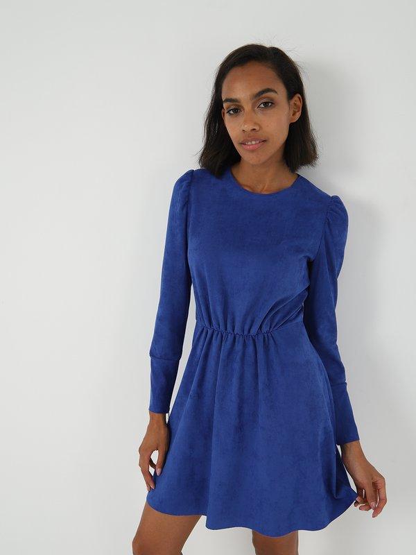 Платье из велюра  цвет: синий