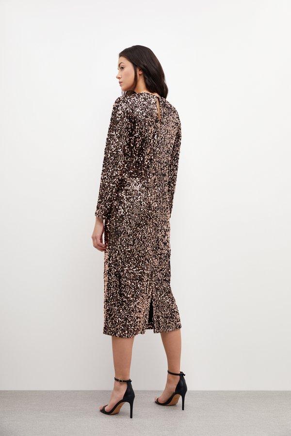 Платье миди с пайетками вид сзади