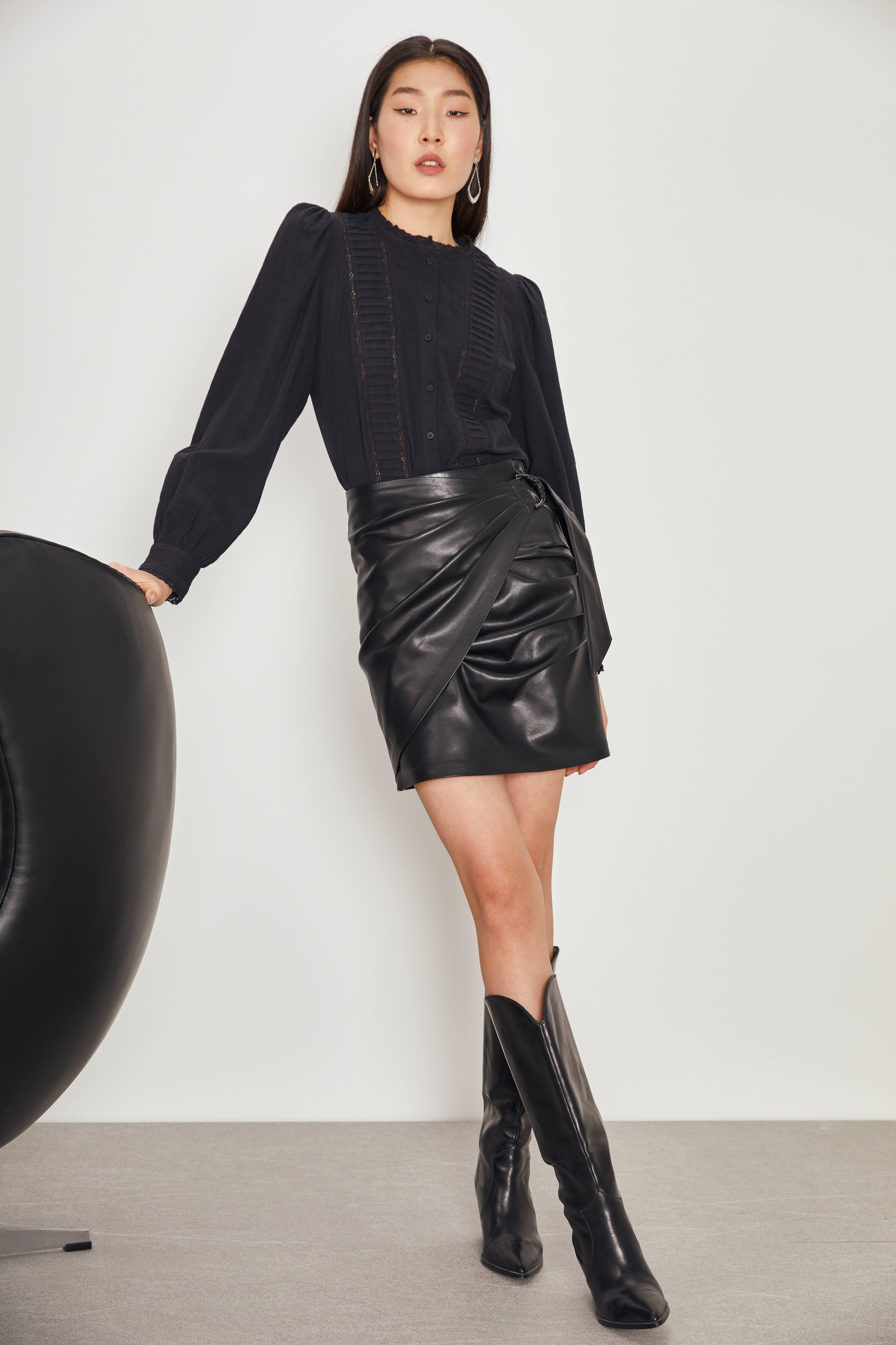 Юбка LIME Юбка из искусственной кожи с ремнем юбка с ремнем mua