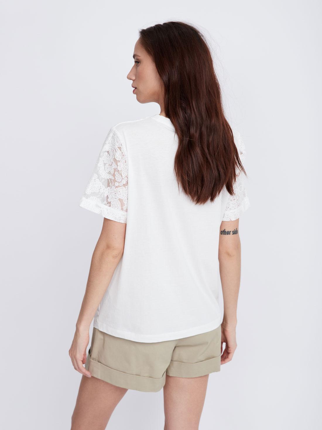 Хлопковая футболка с кружевной сеткой