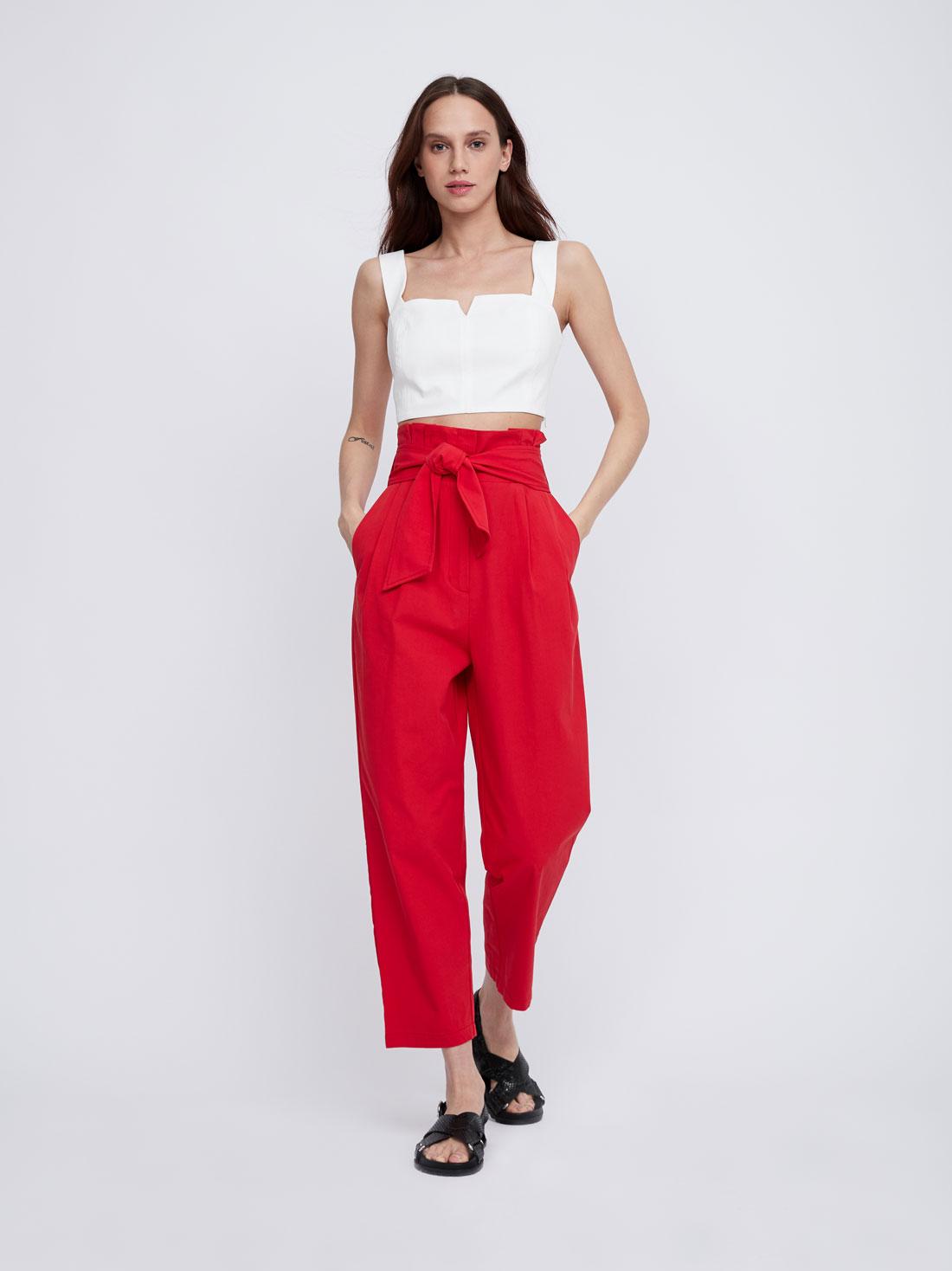 Укороченные брюки из хлопка с поясом