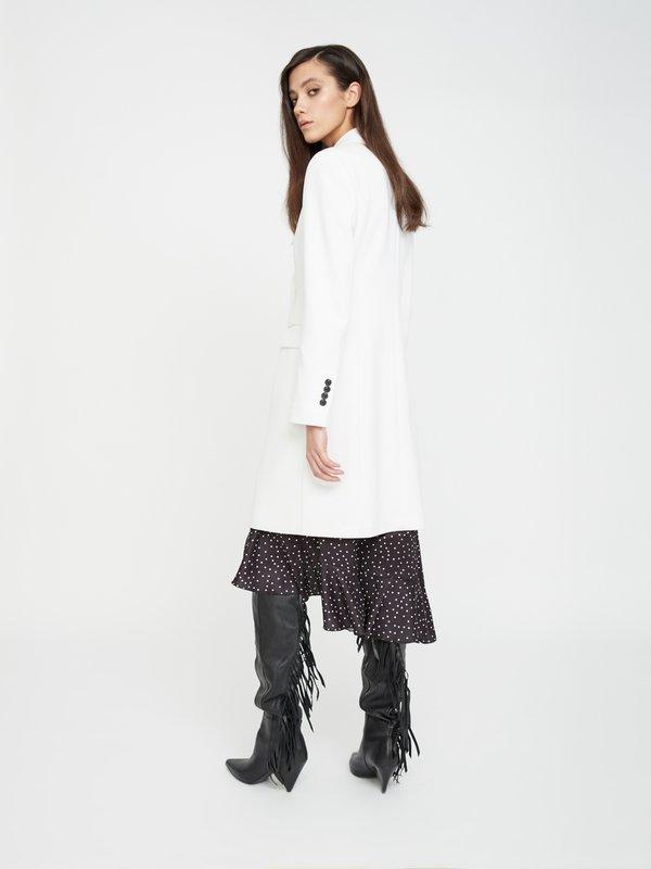 Двубортное пальто с карманами вид сзади