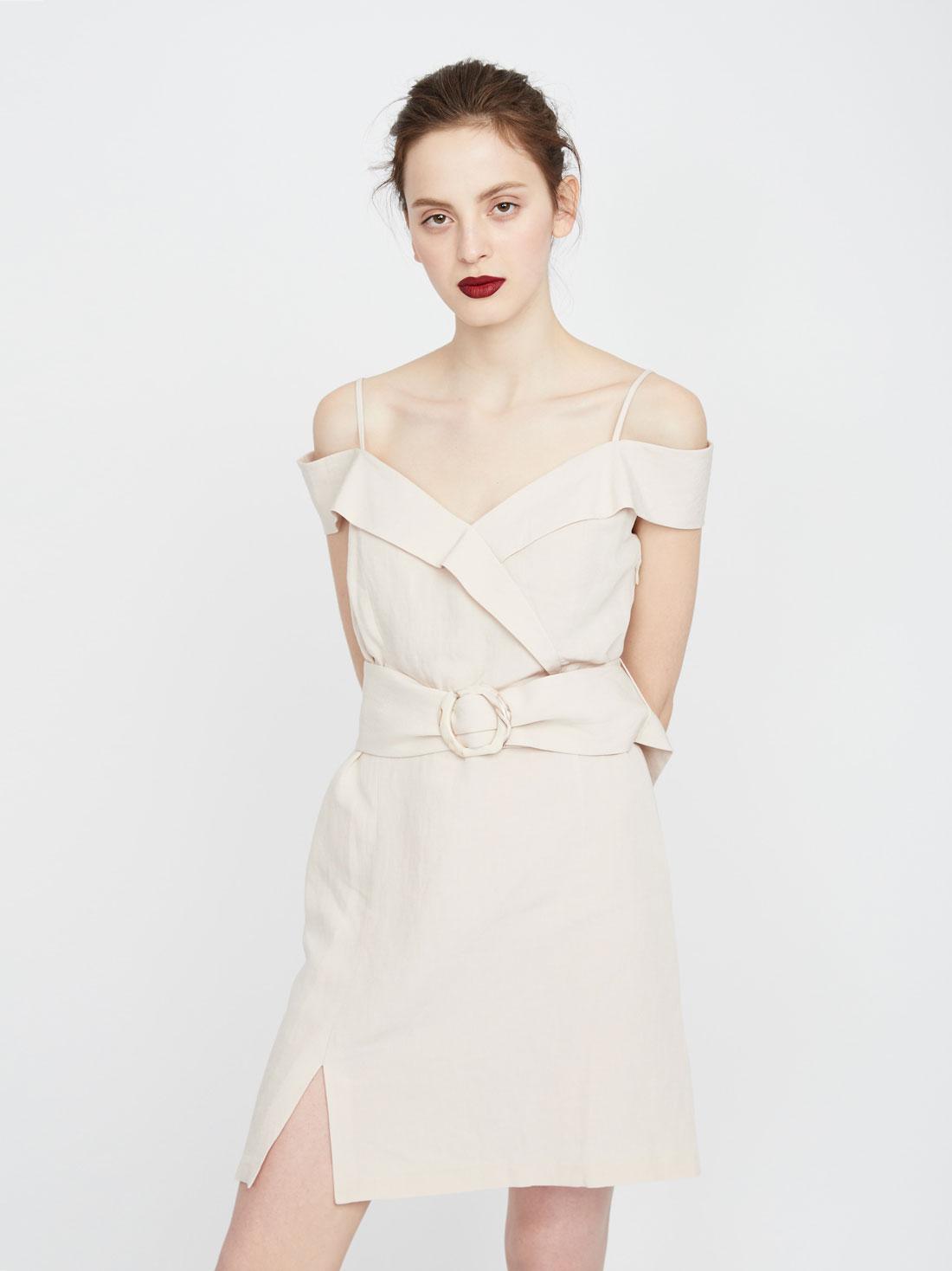 Платье из вискозы и льна на бретелях