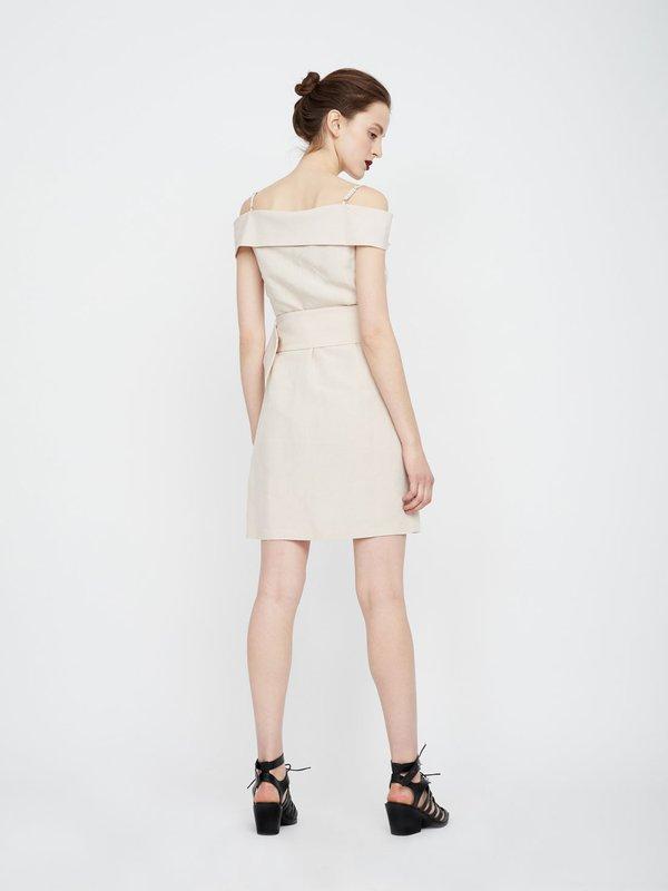 Платье из вискозы и льна на бретелях вид сзади